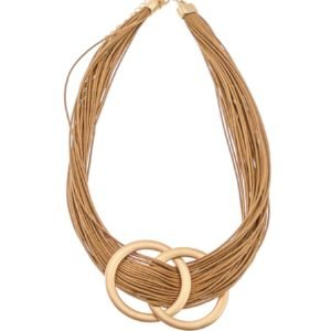 Tan Multi Strand Leather Necklace