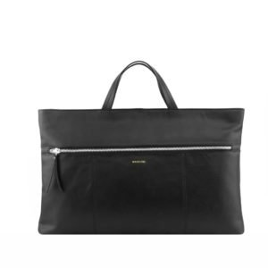 Leather zip front tote_front