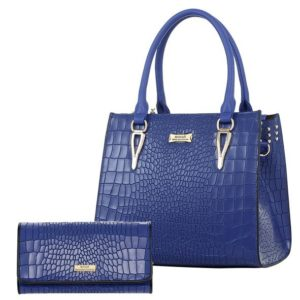 Chic Leather Handbag & Wallet Set_Blue