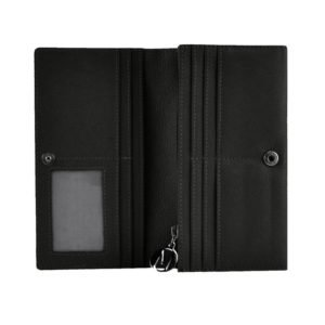 Black leather bifold_open