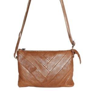 Leather Patchwork Crossbody bag_tan