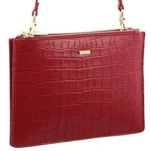 Morrissey Croc Embossed Italian Leather Crossbody Clutch_red
