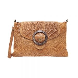 Braided Leather Italian Bag_Tan